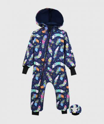 Waterproof Softshell Overall Comfy Multicolor Feathers Jumpsuit