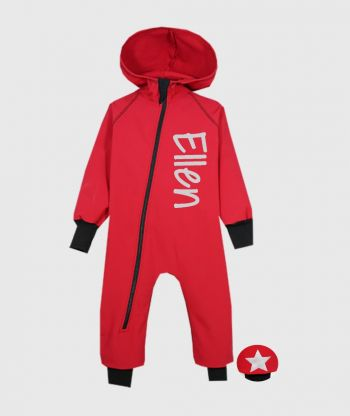Waterproof Softshell Overall Comfy Poppy Red Jumpsuit