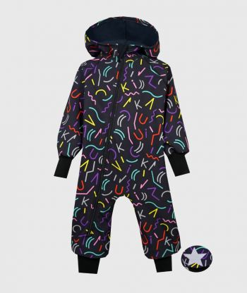 Waterproof Softshell Overall Comfy Colorful Letters Jumpsuit