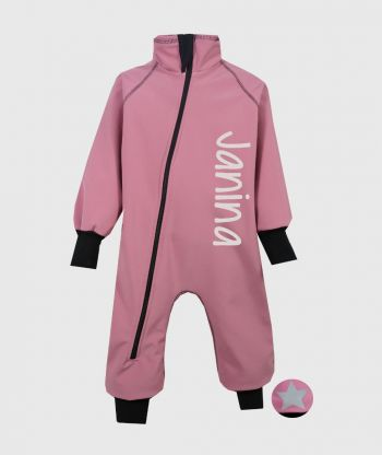 Waterproof Softshell Overall Comfy Dusty Pink Bodysuit