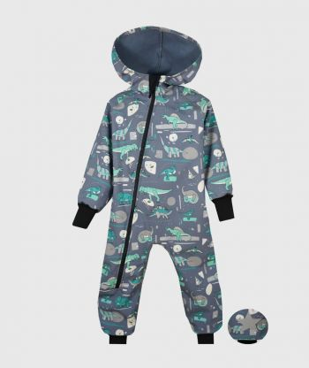 Waterproof Softshell Overall Comfy Dinosaurus Grey Jumpsuit