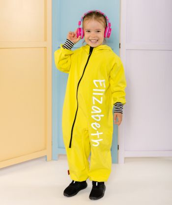 Waterproof Softshell Overall Comfy Bright Yellow Striped Cuffs Jumpsuit