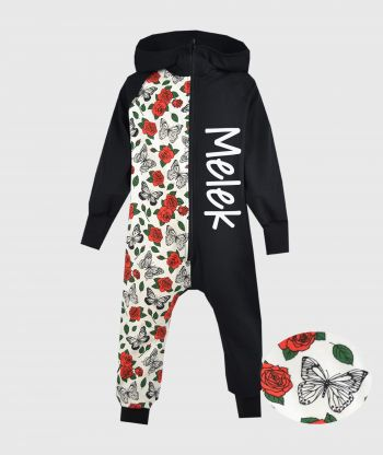 OnePiece Jumpsuit Roses And Butterflies Black