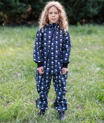 Waterproof Softshell Overall Comfy Skulls Black Jumpsuit