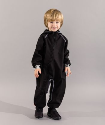 Waterproof Softshell Overall Comfy Black Striped Cuffs Jumpsuit