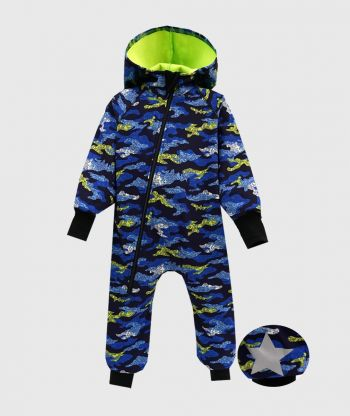 Waterproof Softshell Overall Comfy Blue Camouflage Jumpsuit
