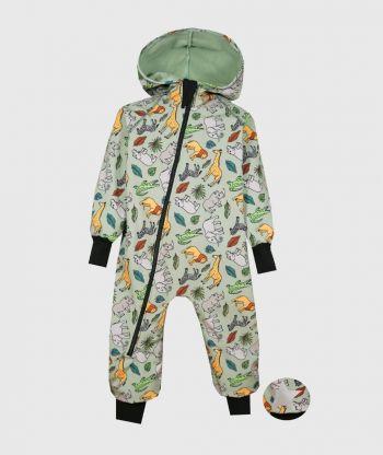 Waterproof Softshell Overall Comfy Savanna Animals Mint Jumpsuit