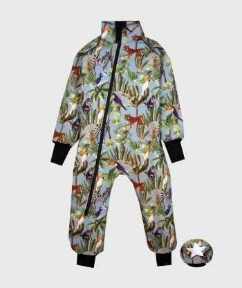 Waterproof Softshell Overall Comfy Wild Animals Blue Bodysuit