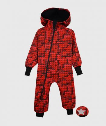 Waterproof Softshell Overall Comfy Lego Bricks Red Jumpsuit