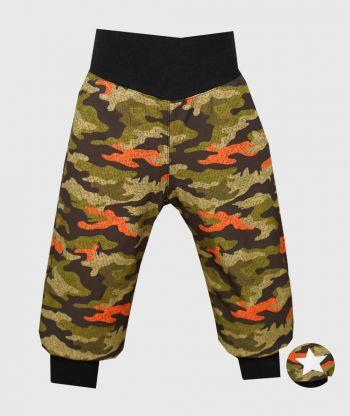 Waterproof Softshell Pants Camouflage Green And Orange