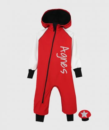 Waterproof Softshell Overall Comfy Red/White Jumpsuit